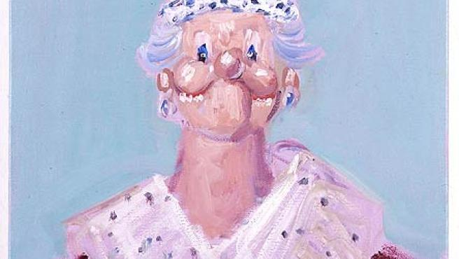 Isabel II retratada por George Condo (EFE).