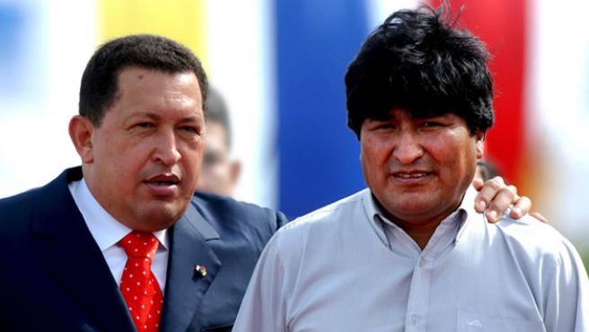 Hugo Chávez y Evo Morales. (ARCHIVO)