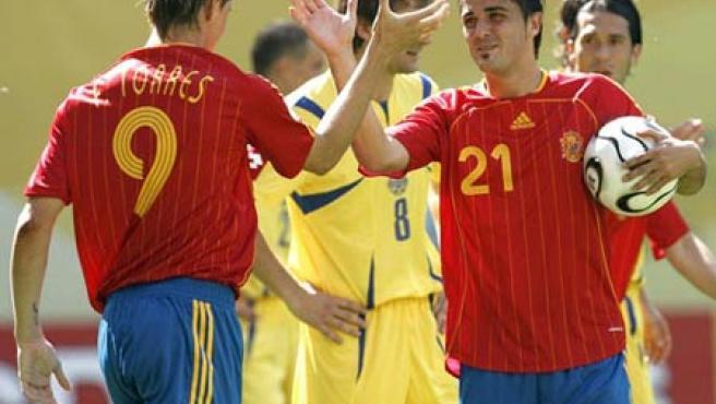 Torres luce el dorsal número '9' durante un partido del Mundial