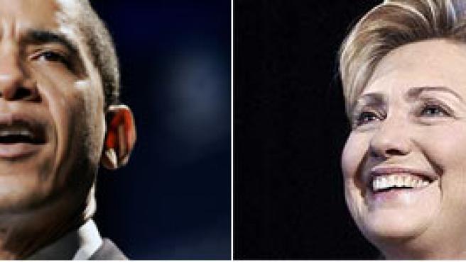 Barack Obama, senador por Illinois (Reuters), y Hillary Clinton (Korpa), senadora por Nueva York.