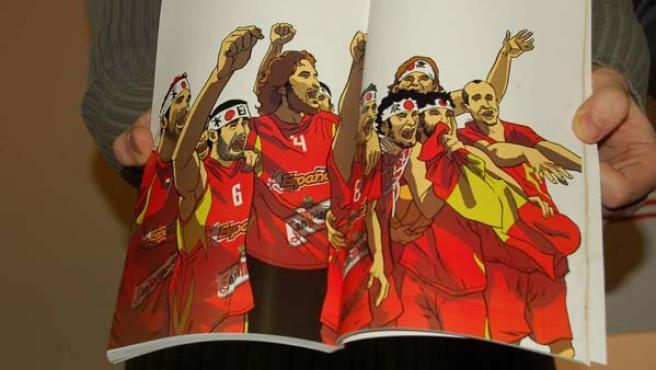 Detalle del cómic de la selección de baloncesto (EFE).