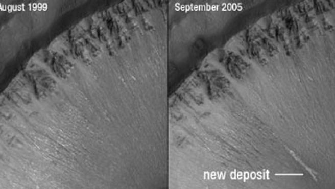En 1999 no se encontraban los sedimentos que agua líquida ha tenido que transportar.