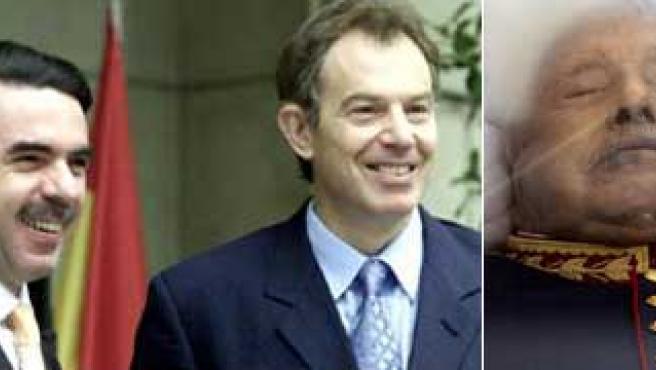 Aznar (i) y Blair (c), dos de los culpados de frenar el proceso de repatriación de Pinochet. (Efe)