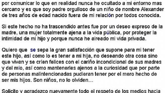 Comunicado de Alejandro Sanz.