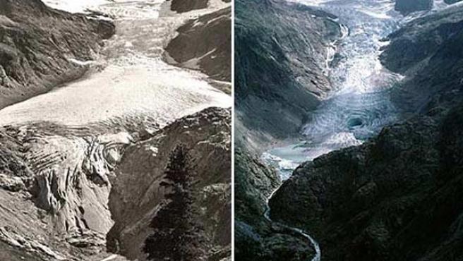 Deshielo en el glaciar suizo de Trift: A la izquierda, una imagen de 1948; a la derecha, una de 2003. (ARCHIVO)