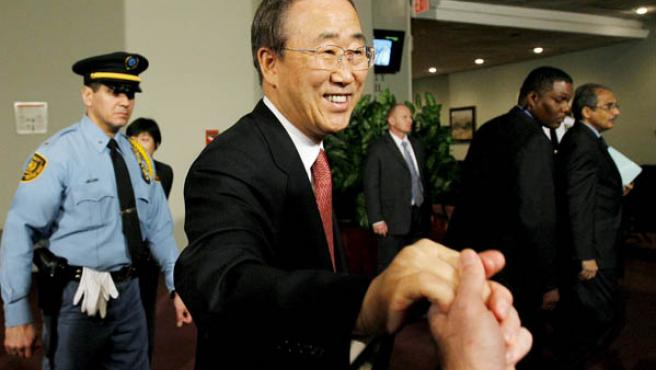 Ban Ki-Moon compareció hoy ante la prensa, en el segundo día de mandato como sucesor de Anan.