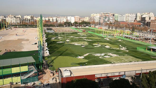 Las obras del campo de golf, ayer, casi terminadas (SERGIO GONZÁLEZ)