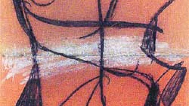 Femme (dibujo a la cera y lápiz sobre cartulina, de Miró, 1979).