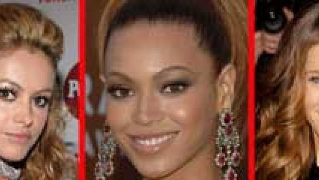 De izq. a dcha: Scarlet Johanson, Paulina Rubio, Beyonce Knowles, Sarah J. Parker y Penélope Cruz. (©KORPA)