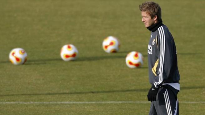 Beckham en el entrenamiento en Valdebebas. (Reuters)