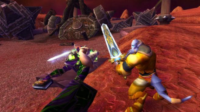 Las dos nuevas razas del juego, un elfo de la sangre (izq.) y un draenei (dcha.).