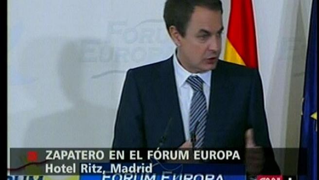 Zapatero, durante su intervención en el Foro de Nueva Economía. (CNN)