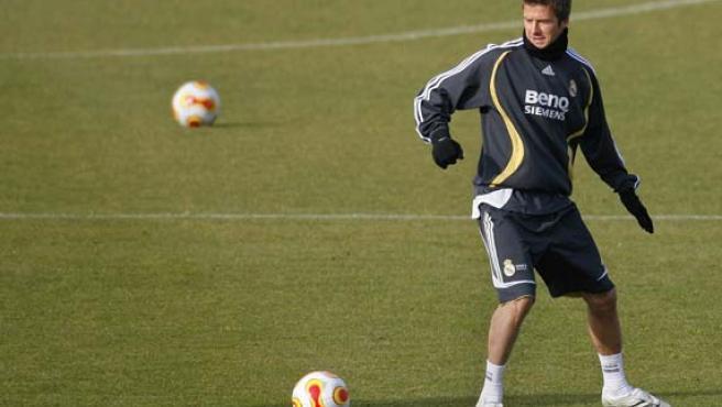 Beckham, en un entrenamiento con el Real Madrid (Víctor Fraile/EFE).