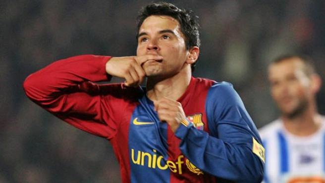Saviola celebra un gol (Albert Olivé/EFE).