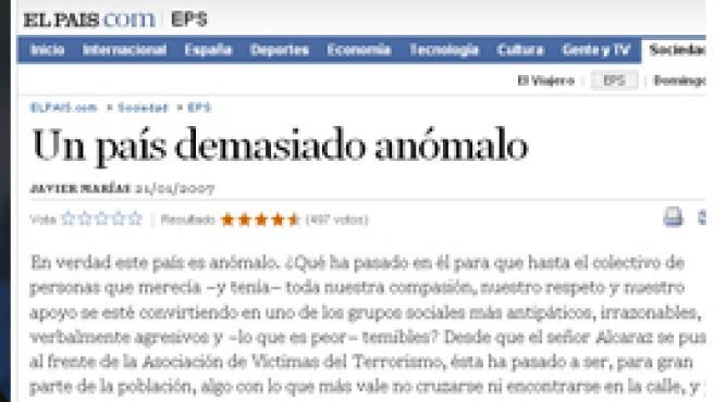 La AVT se querella contra Javier Marías y El País por injurias.