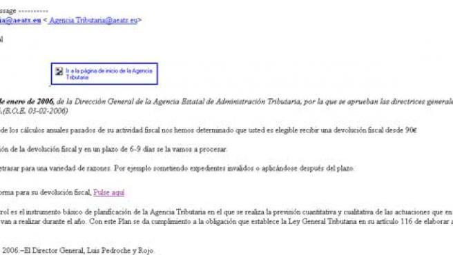 Este es el correo electrónico que lleva a una página web falsa de la AEAT.