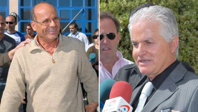 Santiago Santana Cazorla (a la derecha) y José Silverio Hernández Hernández, a su salida de los juzgados (Foto: Efe)