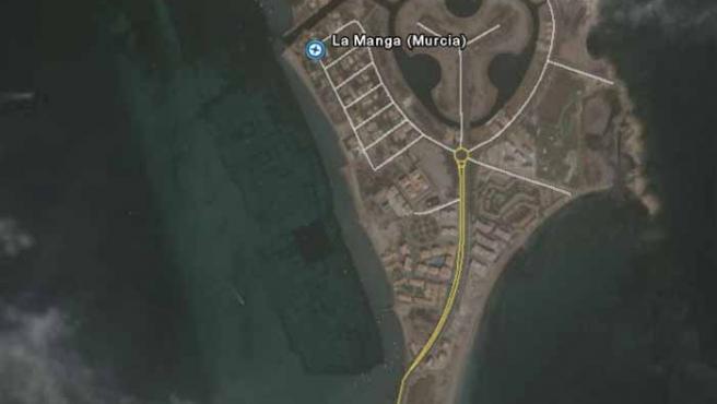 El pueblo romano descubierto está sumergido bajo las aguas del Mar menor. (Google Earth)