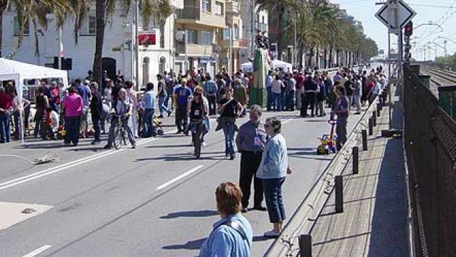 Una de las muchas manifestaciones que se han hecho en la Nacional-II a su paso por el Maresme.