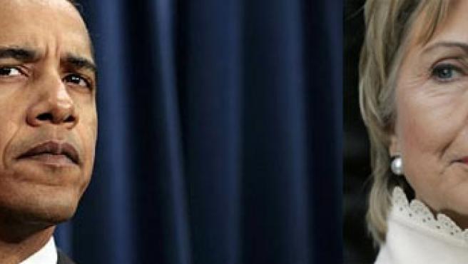 Barack Obama y Hillary Clinton, candidatos Demócratas a la Presidencia.