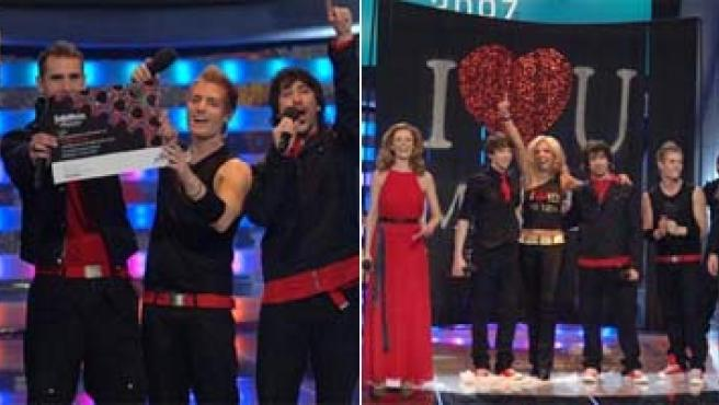 "Dos de las imágenes de la gala de anoche ""Misión Eurovisión"", que designó al grupo Nash como representante de España en Eurovisión."