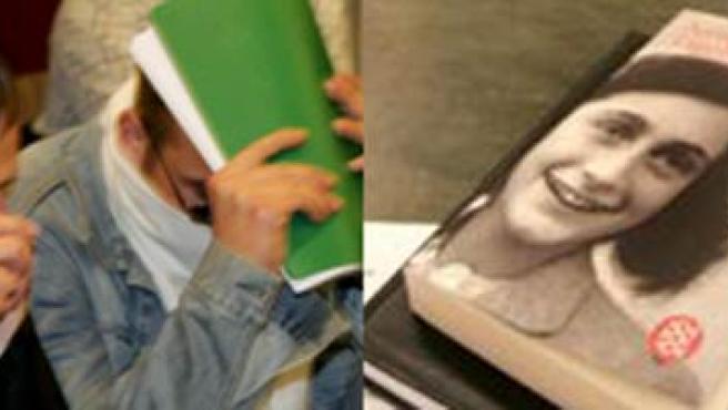 Dos de los juzgados y la portada de 'El Diario de Anna Frank'. (EFE)