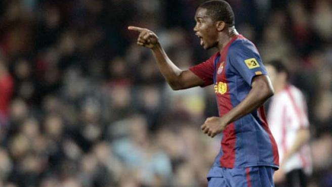 Eto'o, en el partido contra el Athletic de Bilbao.