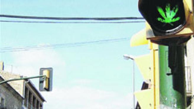 El semàfor de Solivella que mostra la fulla de marihuana quan dóna pas als cotxes.(Núria Torres / Acn)