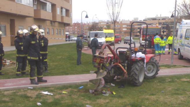 Imagen de los equipos de emergencia tras un accidente laboral en Pinto (Madrid)