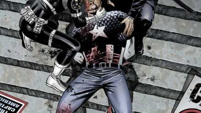 El Capitán América agoniza a las puertas de un Tribunal tras ser abatido por un francotirador.