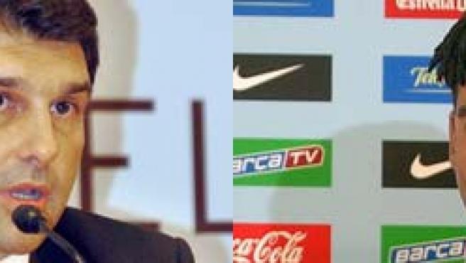 Rijkaard y Laporta, preocupados por la situación del vestuario del Barça.