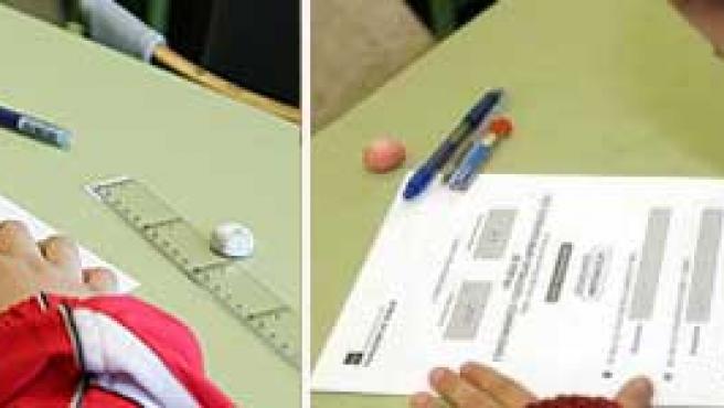 Dos alumnos de ESO, en un examen.