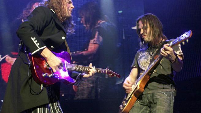 El grupo mexicano de rock Maná durante uno de sus conciertos en el Madison Square Garden de Nueva York.