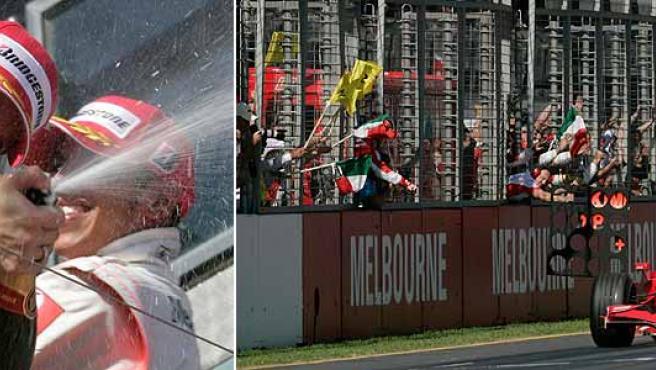 Alonso y Hamilton celebran el triunfo (i) y Raikkonen, tras ver la bandera a cuadros como ganador. (Reuters)