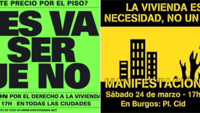 Dos de los carteles que llaman a la convocatoria de este fin de semana.