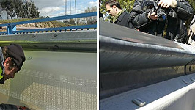 A la izquerda de la imagen, operarios ultiman la instalación de los protectores; a la derecha, el alcalde de Madrid (AYUTAMIENTO DE MADRID/AGENCIAS)