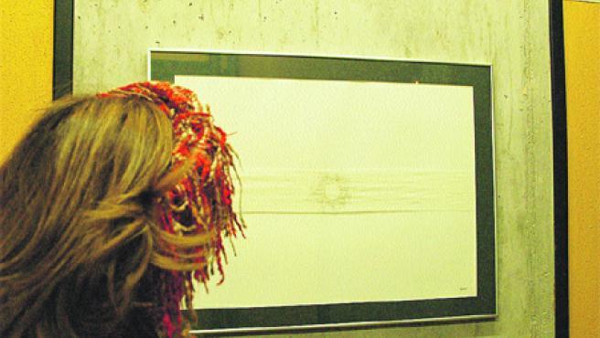 Una joven observa la obra de Lino Fernández en el Centro 14. Arriba, el detalle. (Francisco González)