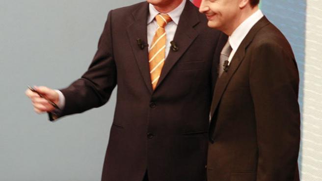 Zapatero y Lorenzo Milá en el plató del programa (Diana Sánchez).