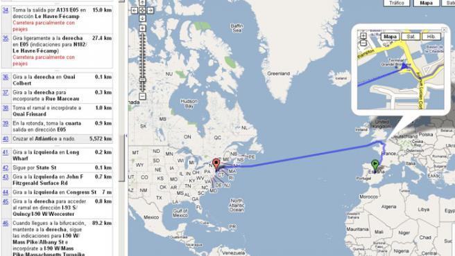 Esta es la curiosa ruta Madrid-Nueva York de Google Maps.