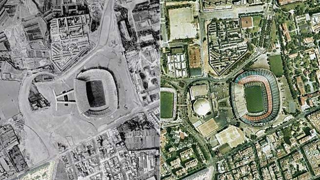 En la imagen, en Camp Nou en 1958 y en la actualidad (Ayuntamiento de Barcelona).