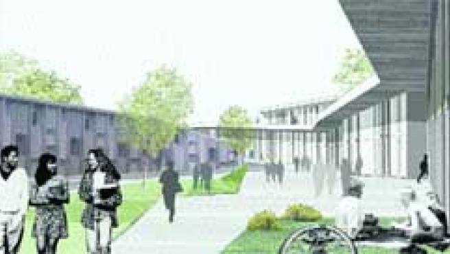 El área residencial del campus tendrá una gran plaza pública, como refleja esta recreación virtual.