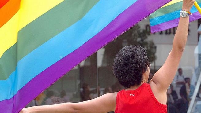 Una chica enarbola una bandera gay.