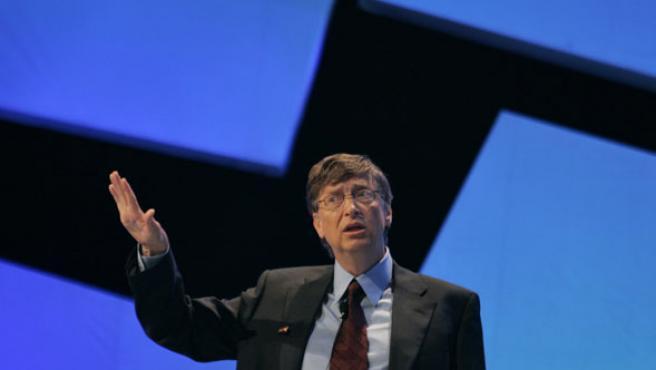 Bill Gates durante su conferencia en Pekín.