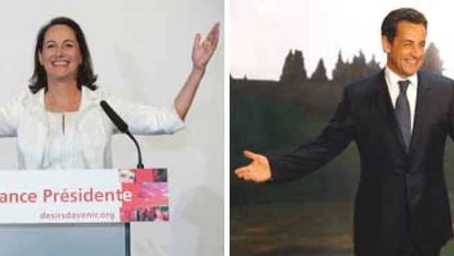 Ségolène Royal y Nicolas Sarkozy dirigiéndose a sus seguidores tras los resultados de la primera vuelta