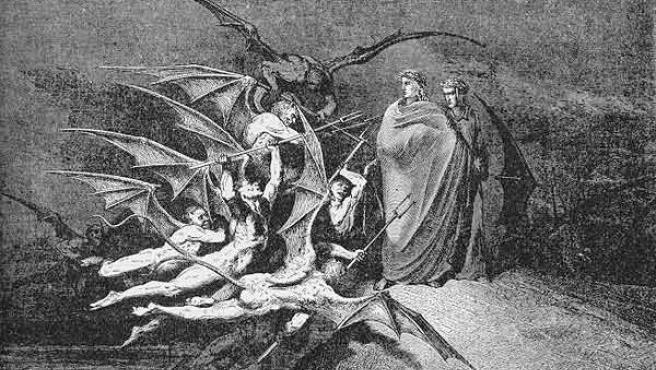 Representación artística del infierno (Imagen: Grabado de Doré).