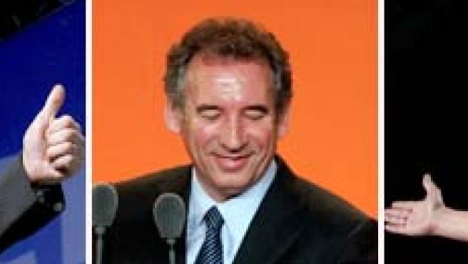 Sarkozy y Royal le hacen un guiño al centrista Bayrou.