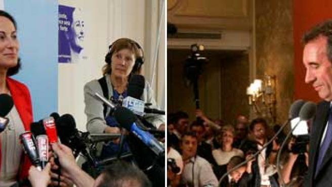 Ségolene Royal y François Bayrou ante los medios de comunicación.