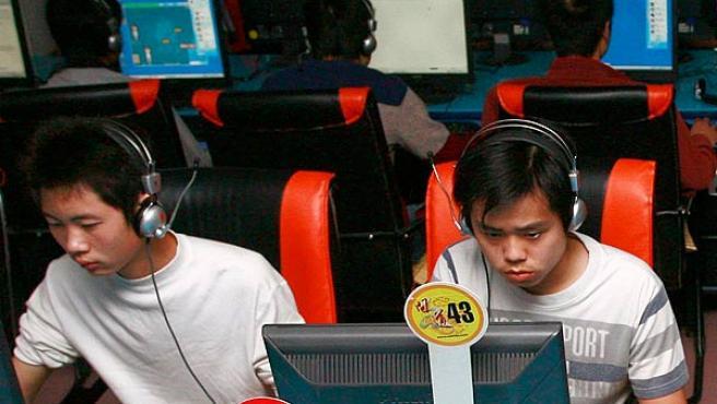 Un cibercafé chino en Sichuán.