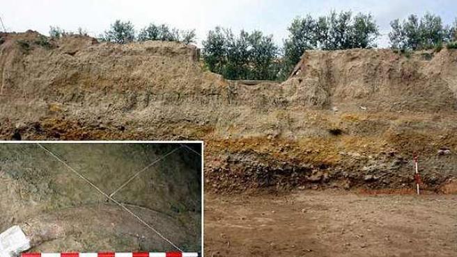 Lugar donde se han encontrado los colmillos del mamut y un detalle de los mismos. (URV)