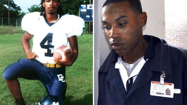A la izquierda, Genarlow Wilson,posa como jugador; a derecha, Wilson en la cárcel estatal de Georgia (foto ESPN)